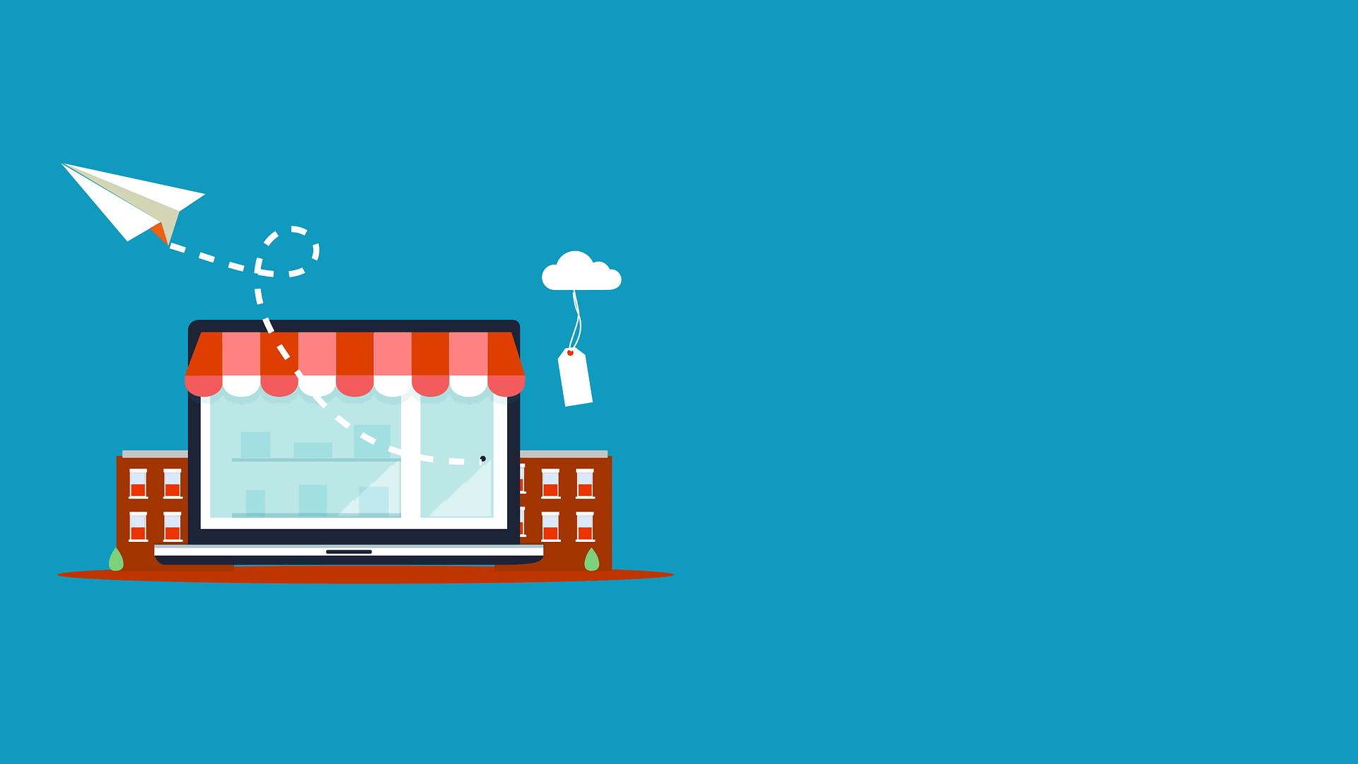 Illustrazione negozio e-commerce